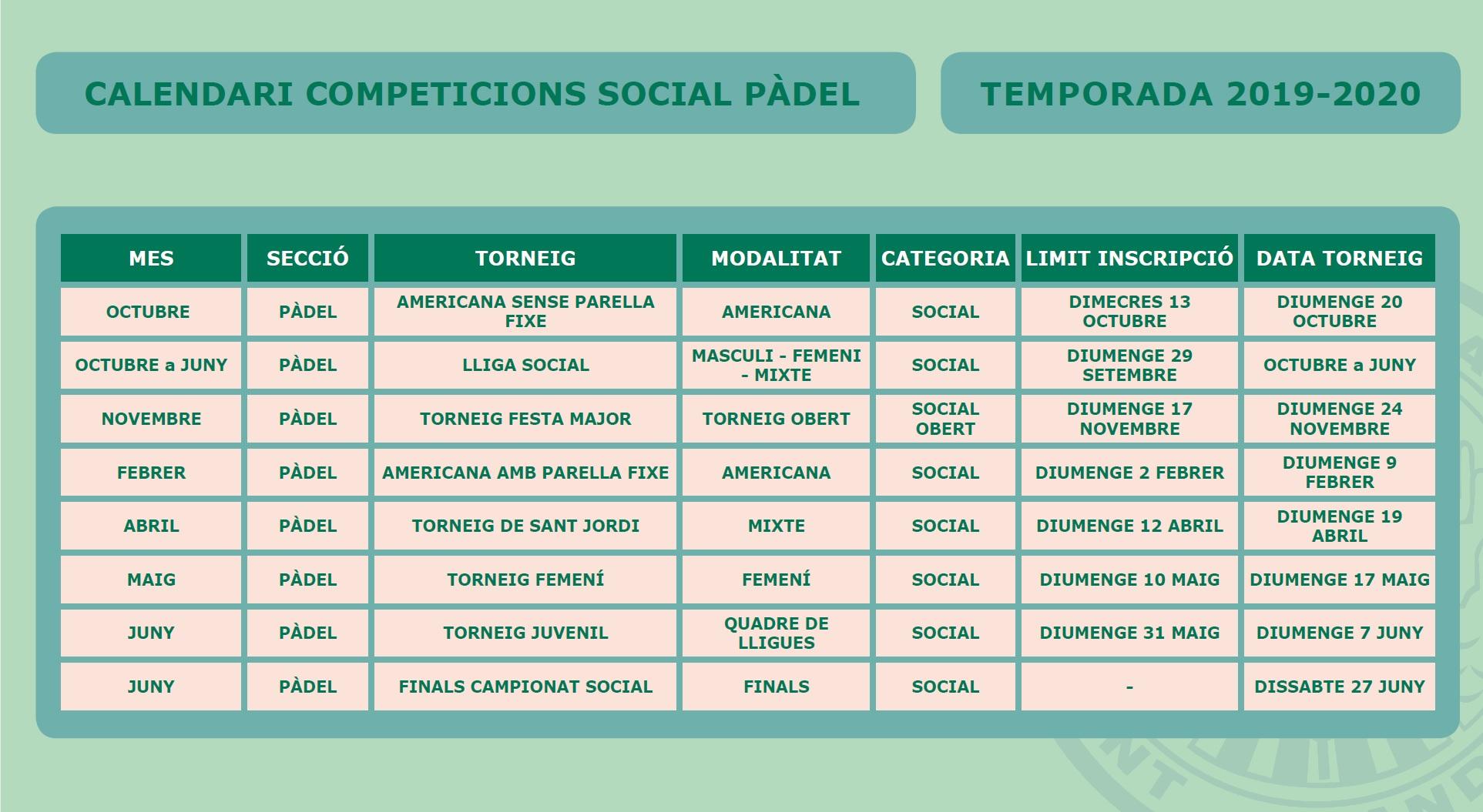 CALENDARI PÀDEL SOCIAL 2019-2020